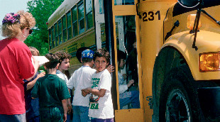 Students boarding a bus