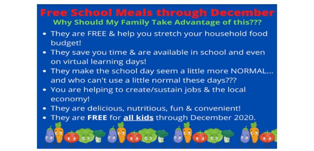 FREE SCHOOL BREAKFAST AND LUNCHES