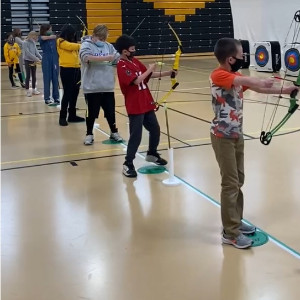 Students with bowsand arrows