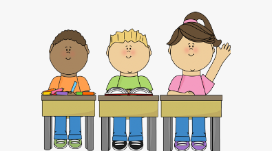 Clipart of three students at desks