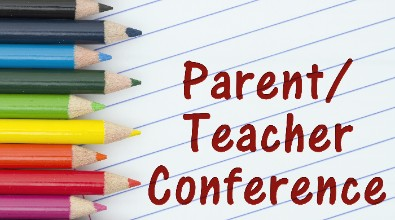 """Images of colored pencils on lined paper. Text reads """"Parent/Teacher Conferences"""""""