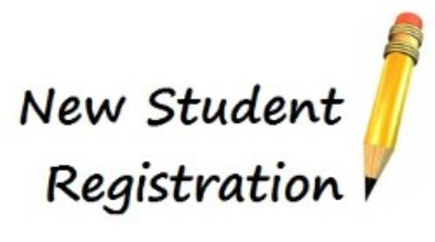 "Clipart of a pencil. Words read ""New Student Registraiton"""