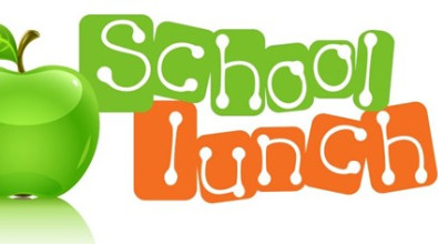 "Clipart of a green apple with the word ""School Lunch"""
