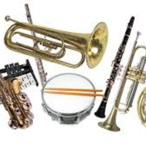 image of drum, clarinet, trumpet, and saxophone