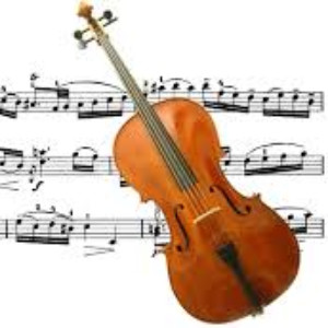 image of cello and musical notes