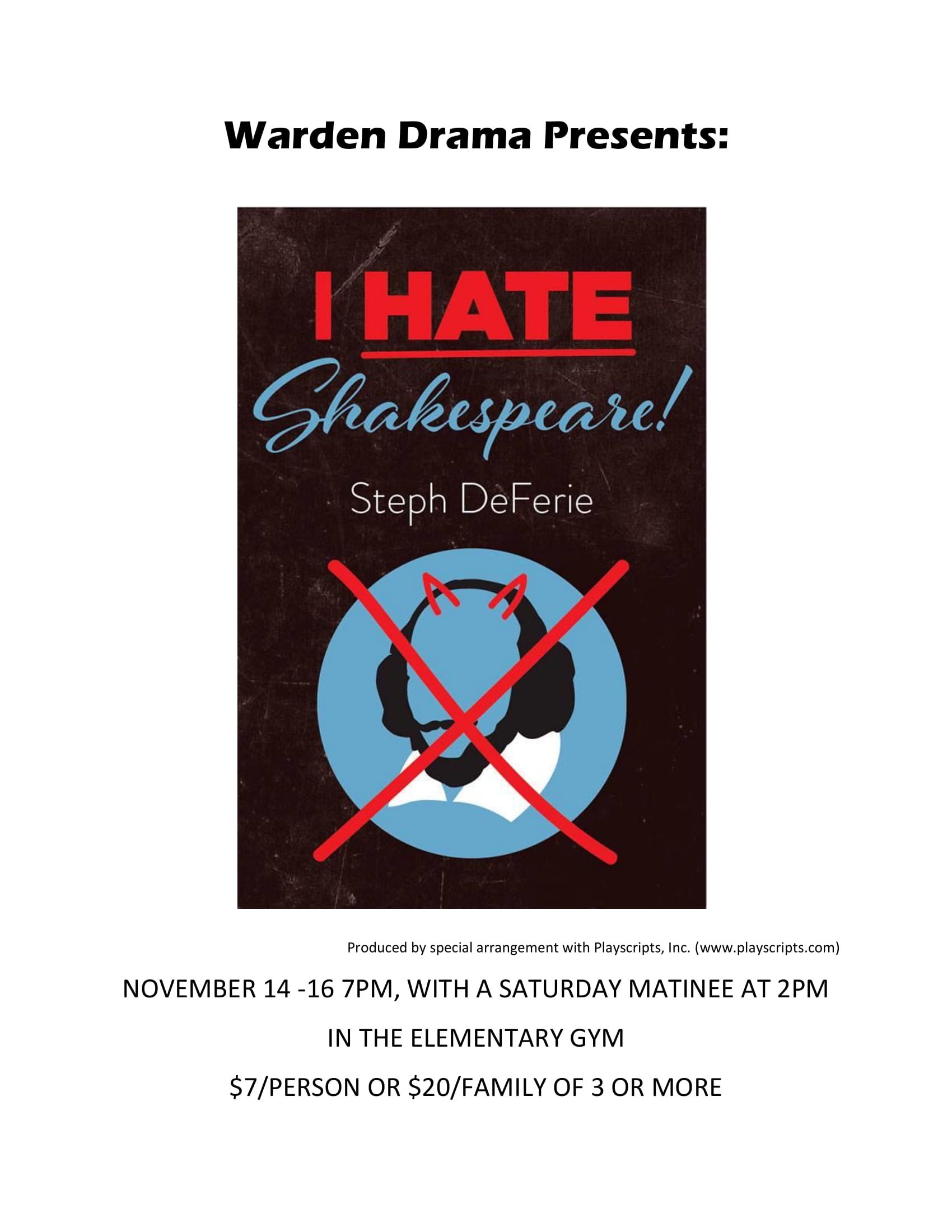 Warden Drama Club presents: I Hate Shakespeare!