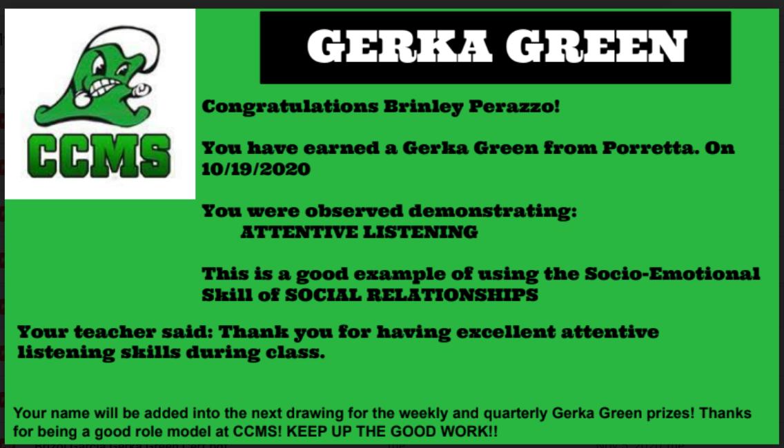 GERKA GREEN CERTIFICATE