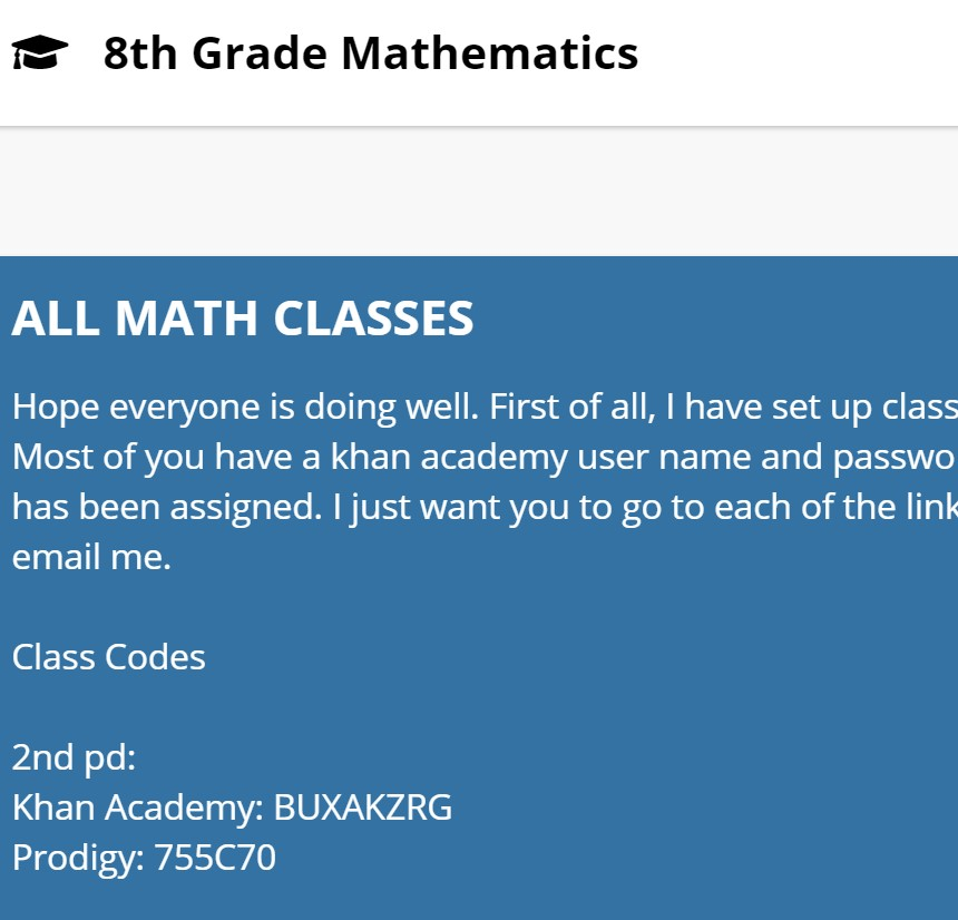 Click here for 8th Grade Math