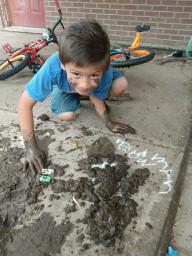 Studnet mud painting