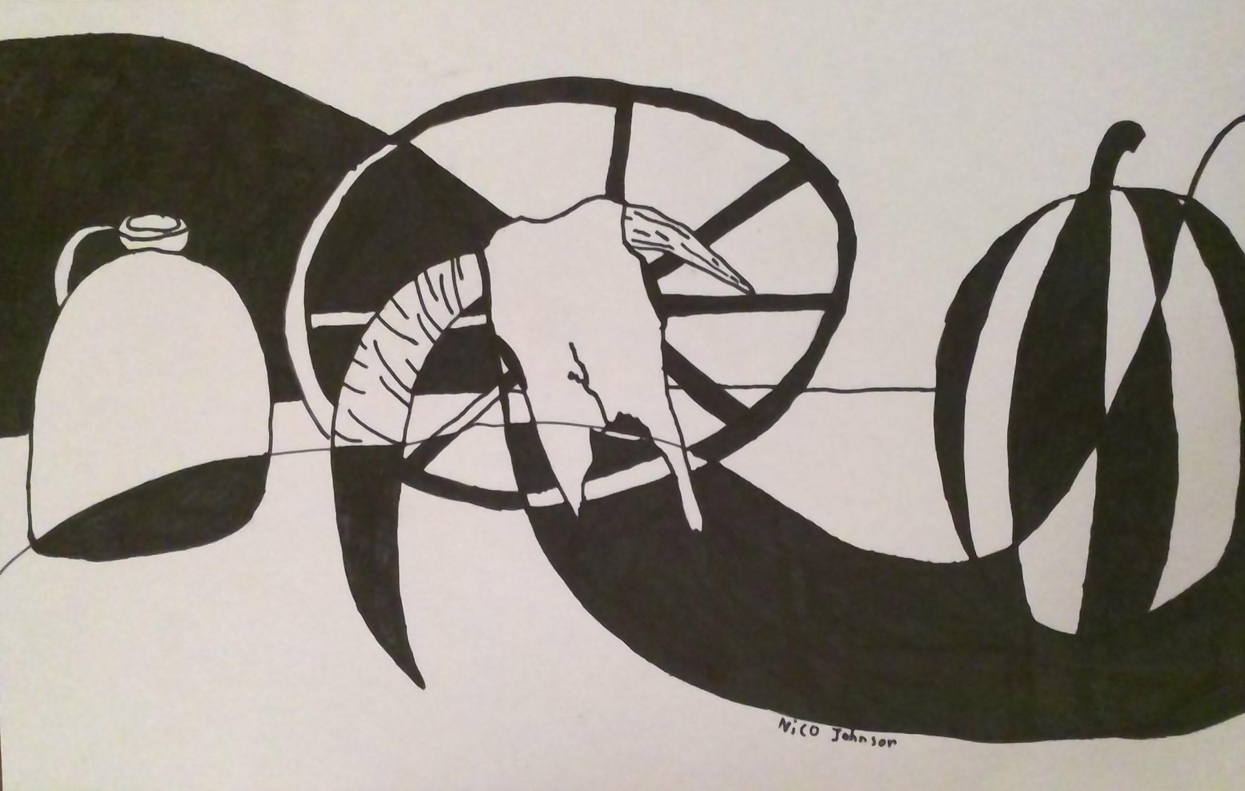 Studnet Art - Black and White Swirls