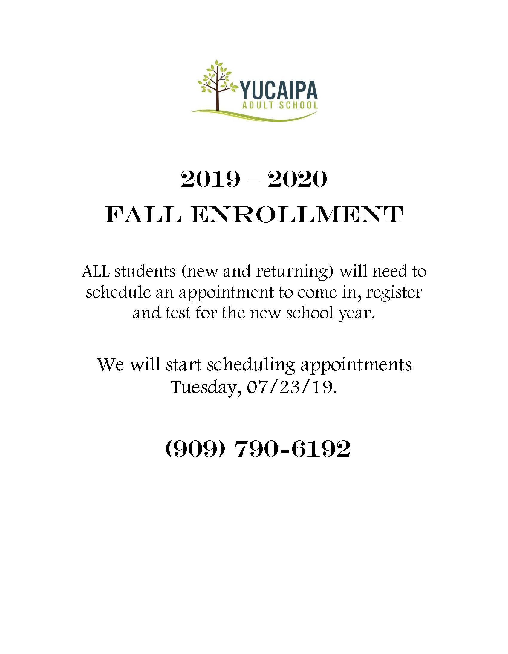 Enrolling for the 2019 - 2020 School Year