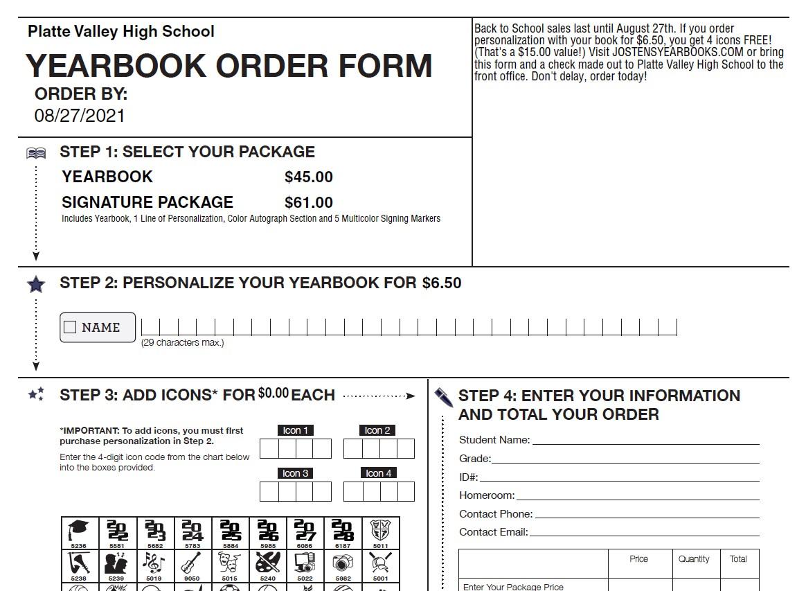 Printable Yearbook Order Form