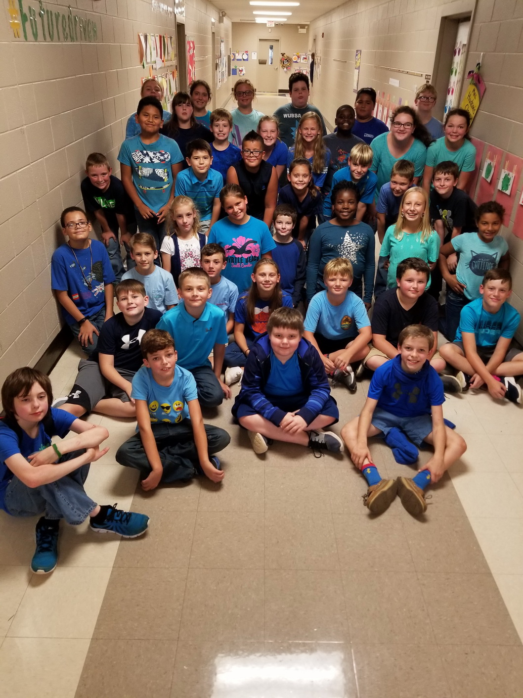 HT 5th graders wear blue for World Day of Bullying Prevention
