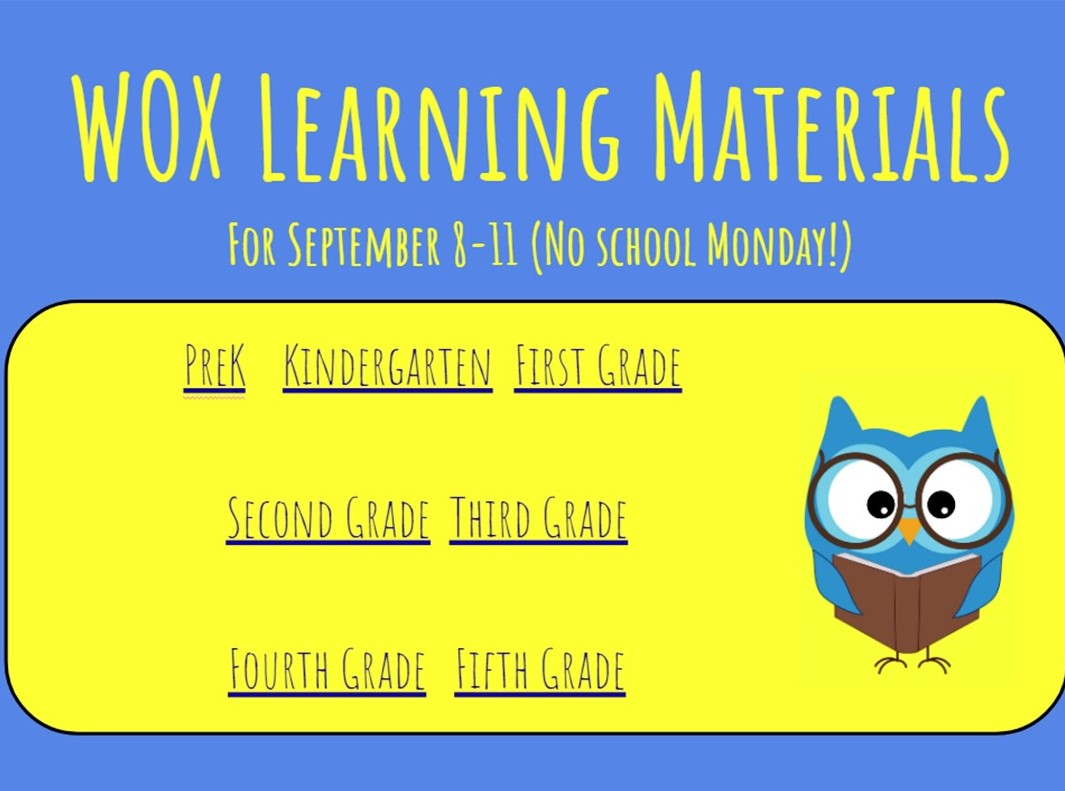 Sept 8th - 11th learning materials