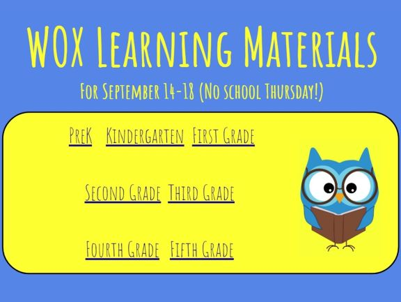Sept 14 - 18 learning materials