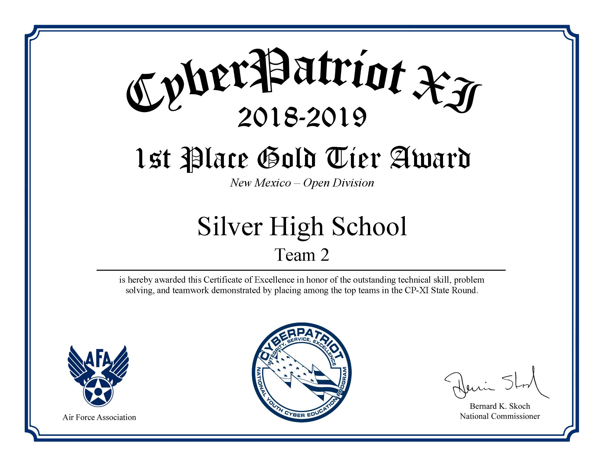 Cyberpatriot Gold Award
