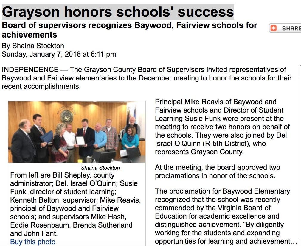 Grayson honors schools' success