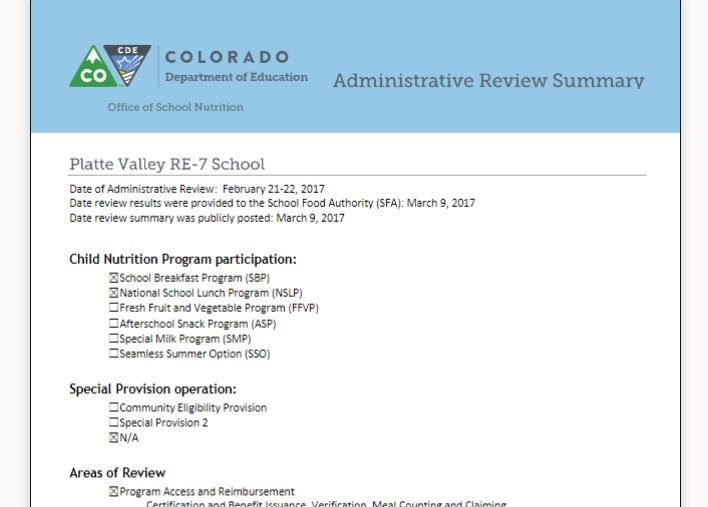 Nutrition Administrative Review Summary