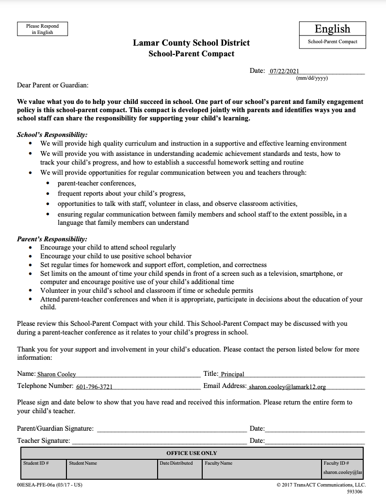 LES SCHOOL-PARENT COMPACT (English)