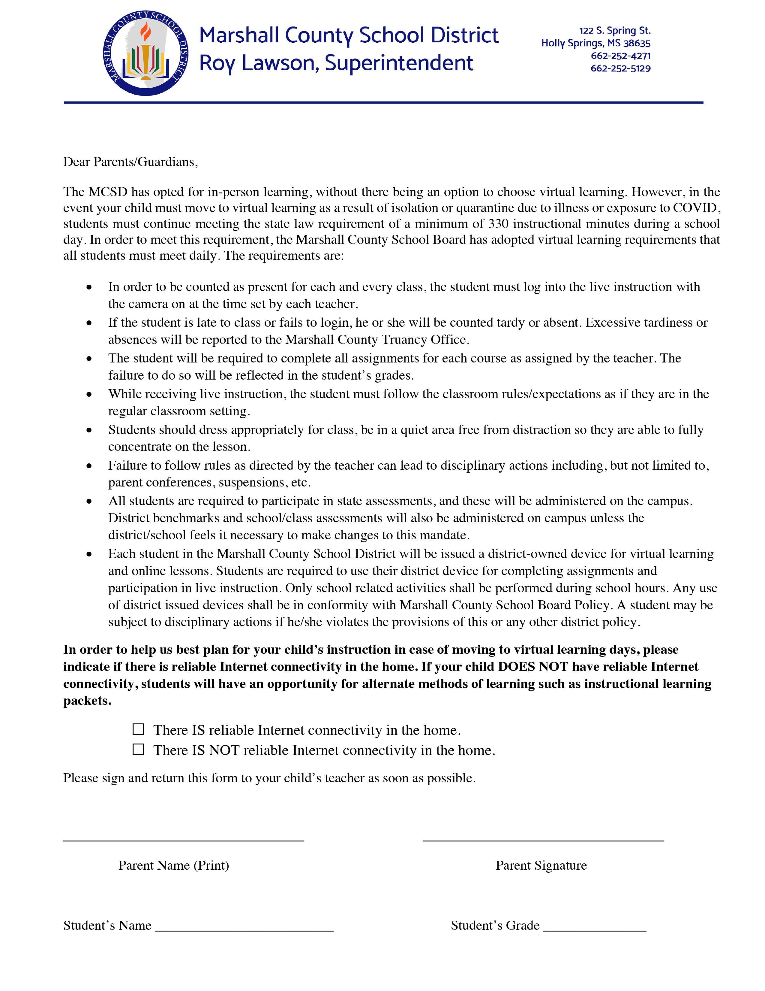 Letter Explaining Virtual Learning