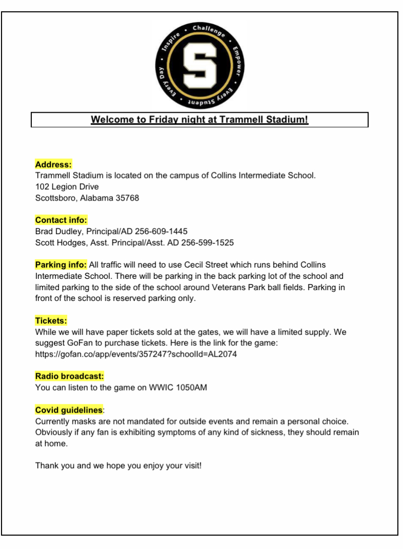 PC vs Scottsboro Game Info.