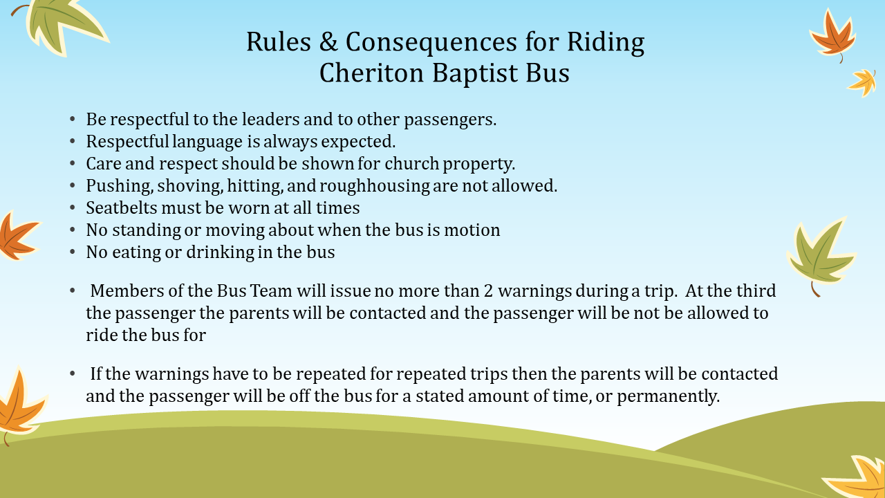 Rules for Riding The Bus