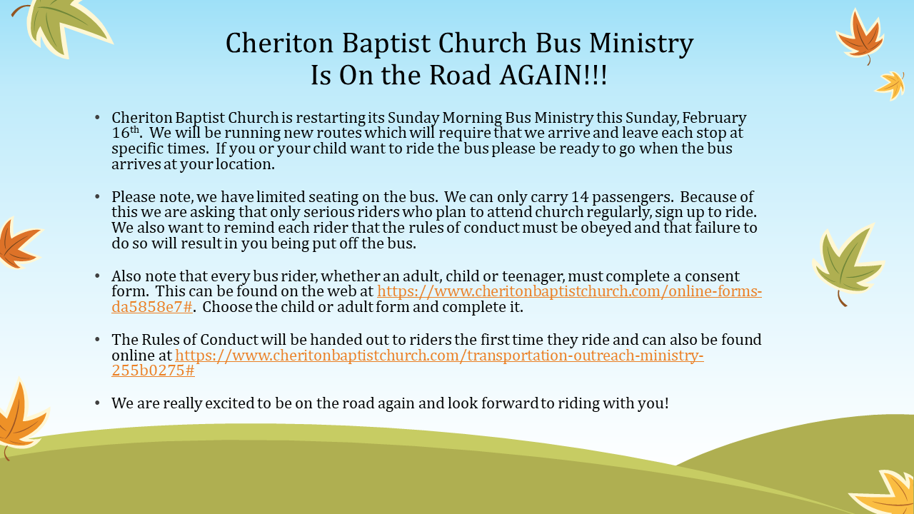CBC Bus Ministry Rides Again