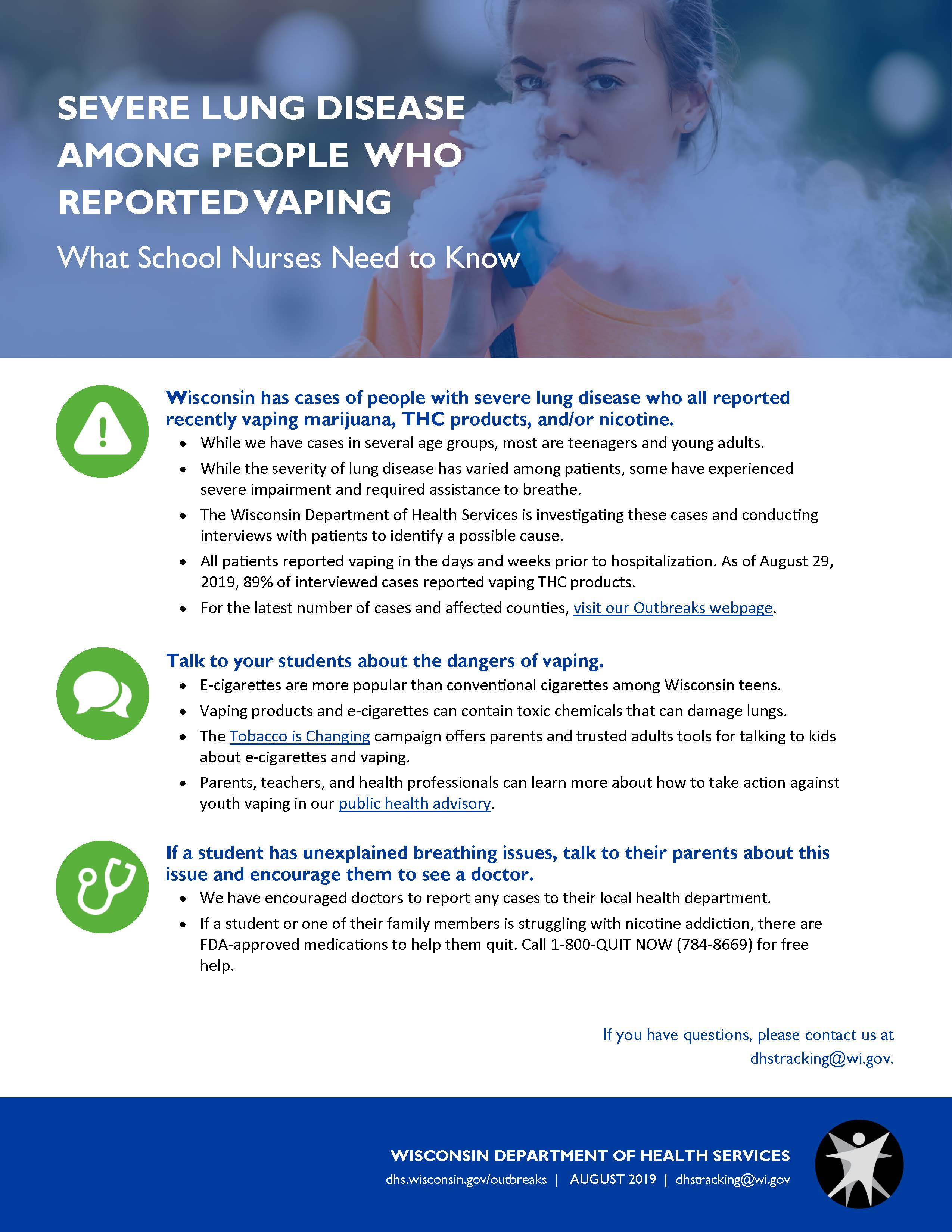SEVERE LUNG DISEASE AMONG PEOPLE WHO REPORTED VAPING