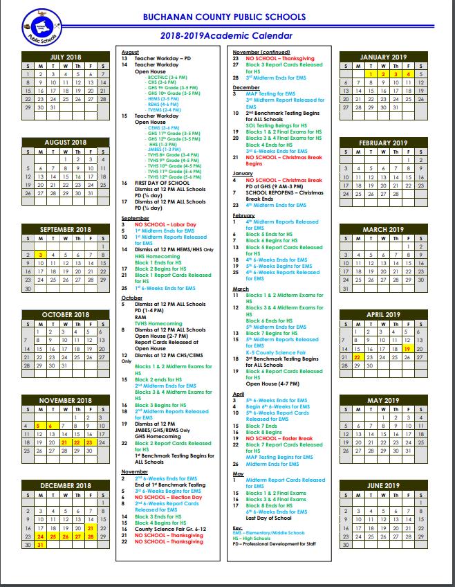 2018-2019 School Calendar Released
