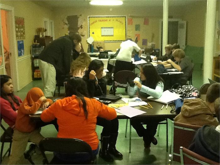 image of students at church tutoring