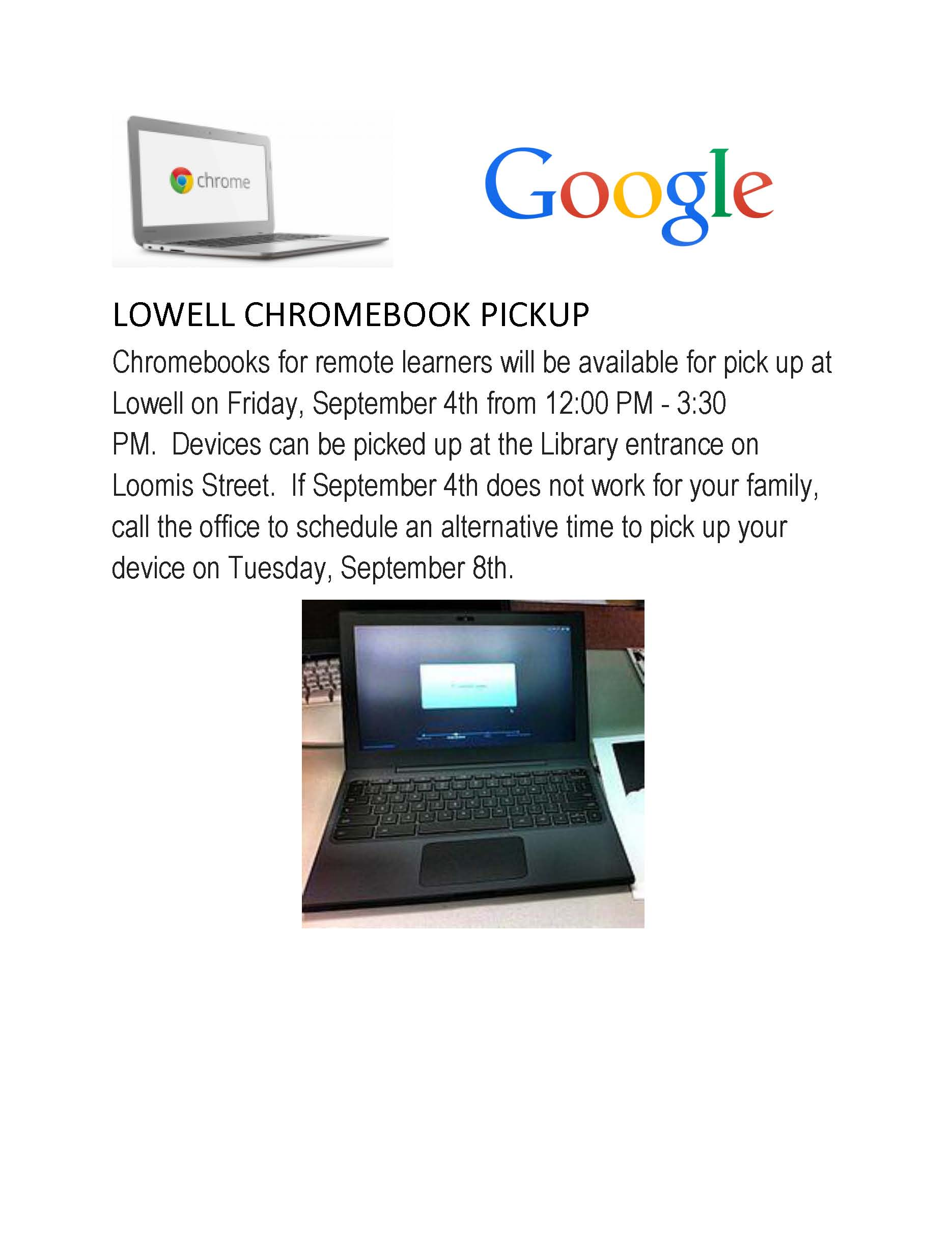 LOWELL Remote Learners Chromebook Pickup
